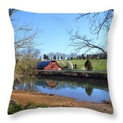 Red Barn And Pond Throw Pillow