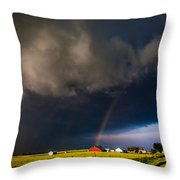 Red Barn And Rainbow Throw Pillow