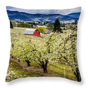 Red Barn And The Pear Orchards Throw Pillow