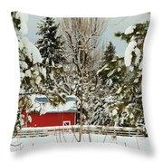 Red Barn At Christmas Throw Pillow