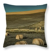 Red Barn At Haying Time Throw Pillow