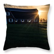 Red Barn At Sunset Throw Pillow