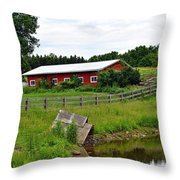 Red Barn By The Lake Throw Pillow