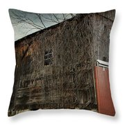 Red Barn Doors Throw Pillow by Stephanie Calhoun