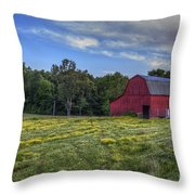 Red Barn In A Yellow Field  Throw Pillow