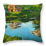 Red Barn In Kennebunkport Me Throw Pillow