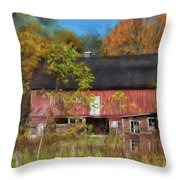 Red Barn In October Throw Pillow