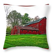 Red Barn In Ohio Throw Pillow