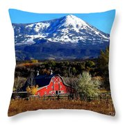 Red Barn In Paonia Colorado Throw Pillow