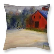 Red Barn In Snow  Throw Pillow by Steve Jorde