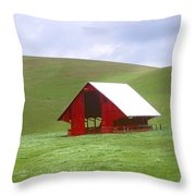 Red Barn In Spring Throw Pillow