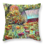 Red Barn In Summer Throw Pillow
