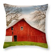 Red Barn In The Blue Sky Throw Pillow