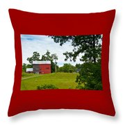 Red Barn In Upper  New York State. Throw Pillow