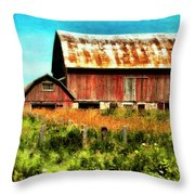 Red Barn No.1 Throw Pillow