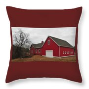 Red Barn On A Grey Day Throw Pillow