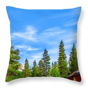 Red Barn On A Hill Throw Pillow