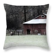 Red Barn On The Drive Throw Pillow