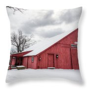 Red Barn On Wintry Day Throw Pillow