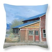 Red Barn, Route 50, Nevada Throw Pillow
