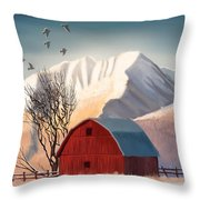 Red Barn Snow Western - Countryside Painting Throw Pillow