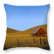 Red Barn Summer Throw Pillow