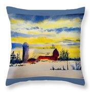 Red Barn Sunrise Throw Pillow