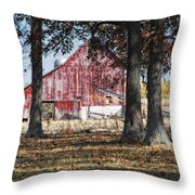 Red Barn Through The Trees Throw Pillow by Pamela Baker