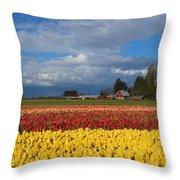 Red Barn Tulip Farm Throw Pillow
