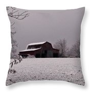 Red Barn Under Snow Throw Pillow