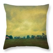 Red Barn Under Stormy Skies Throw Pillow