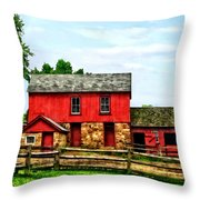 Red Barn With Fence Throw Pillow