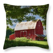 Red Barn With White Arched Door Trim Throw Pillow