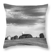 Red Barns Bw Throw Pillow