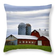 Red Barns Of 3 Throw Pillow