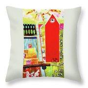 Red Barnyard Throw Pillow