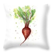 Red Beet Watercolor Throw Pillow