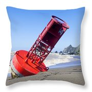 Red Bell Buoy On Beach With Bottle Throw Pillow