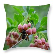 Red Bells And Wasp Throw Pillow