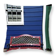 Red Bench Blue House Throw Pillow