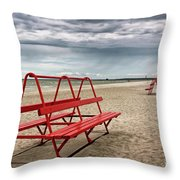 Red Bench On A Beach Throw Pillow