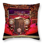 Red Bentley Convertible Throw Pillow