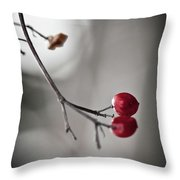 Red Berries Throw Pillow by Mandy Tabatt