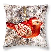 Red Bird White Tree Throw Pillow