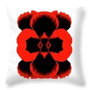 Red Black Botanical Summer Throw Pillow
