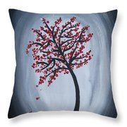 Red Black Tree Painting Throw Pillow