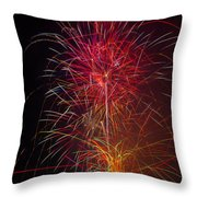 Red Blazing Fireworks Throw Pillow