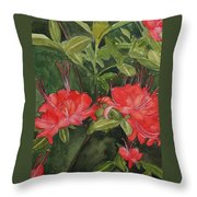 Red Blooms On The Parkway Throw Pillow