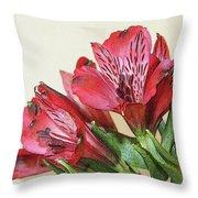 Red Blooms Poster Art Throw Pillow