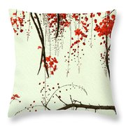 Red Blossom Tree On Handmade Paper Throw Pillow